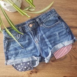 Girls 4th of July American Flag Long Pocket Shorts